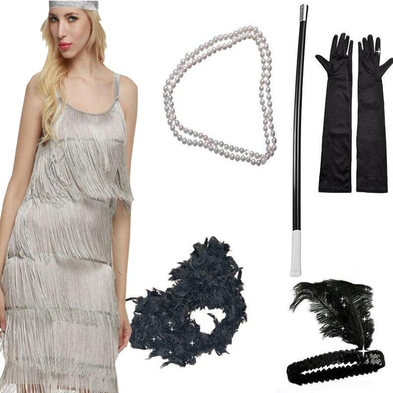 2019 Solid Colour Tassel Spaghetti Strap Sheath Party Mini Dress Fancy GATSBY Headband Gloves Set Cosplay Halloween Party Dress