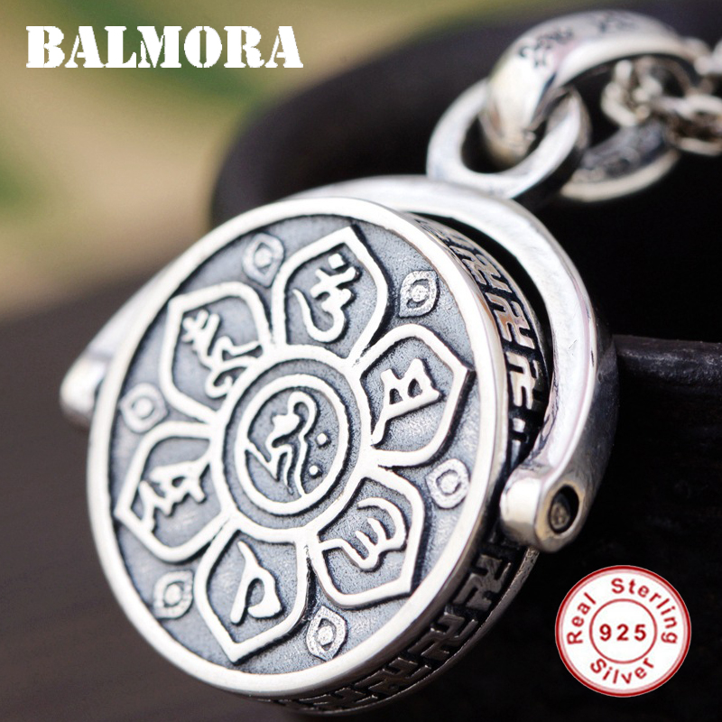 BALMORA 925 Sterling Silver Buddhistic Six Words' Sutra Rotated Pendants for Men Religious Jewelry Without a Chain SY14198