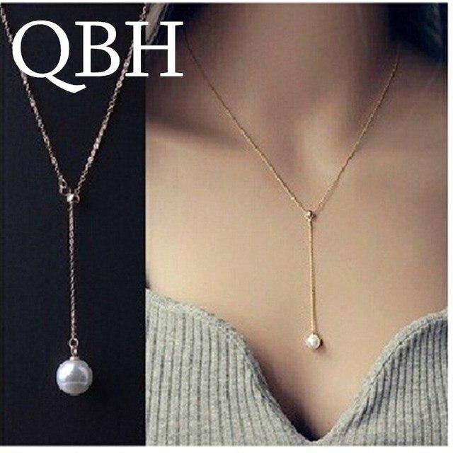 67013cb290ff NK623 nuevo minimalista Colar Bijoux Collier perla de imitación colgante de  la declaración del collar de