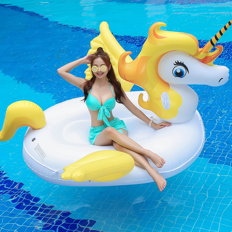 Wholesale HOT 190cm Yellow/Purple Unicorn Piscina Beach Accessories Pool Inflatable Float for adults Party Pony Inflatable Raft inflatable air tight pony hop horse inflatable pony hop for competition games ylw pony hop