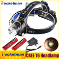 LED Headlight Headlamp CREE T6 led headlamp Light 18650 Head lights head lamp 2000lm XML-T6 zoomable lampe frontale BIKE light