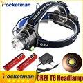 LED Headlight Headlamp CREE T6 led headlamp Light 18650 Head lights head lamp 2000lm XML-T6 zoomable lampe frontale BIKE light