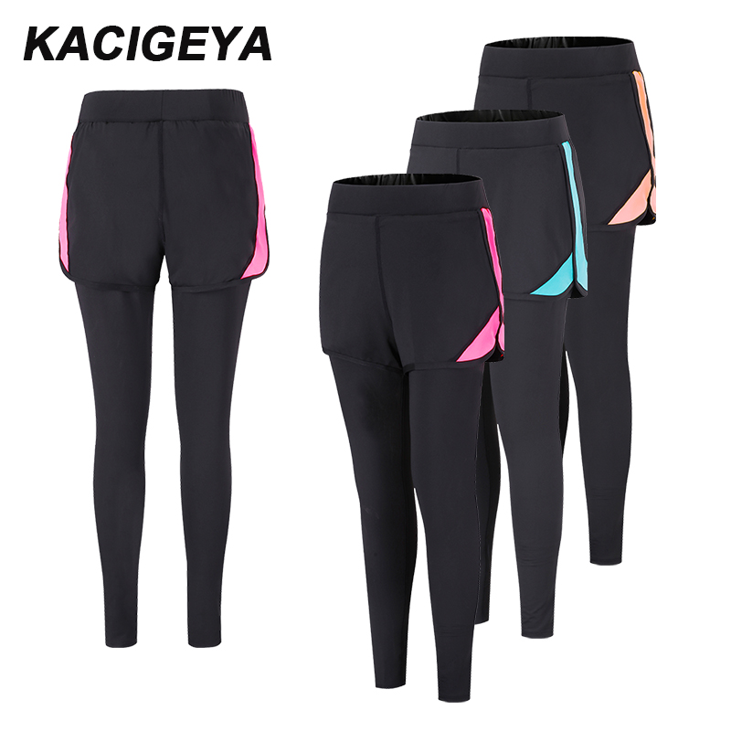 Yoga Leggings 2018 Sports Shorts Fake Two Pieces Running Trousers High Elasticity Divided Skirt Jogging Bodybuilding Long Pants