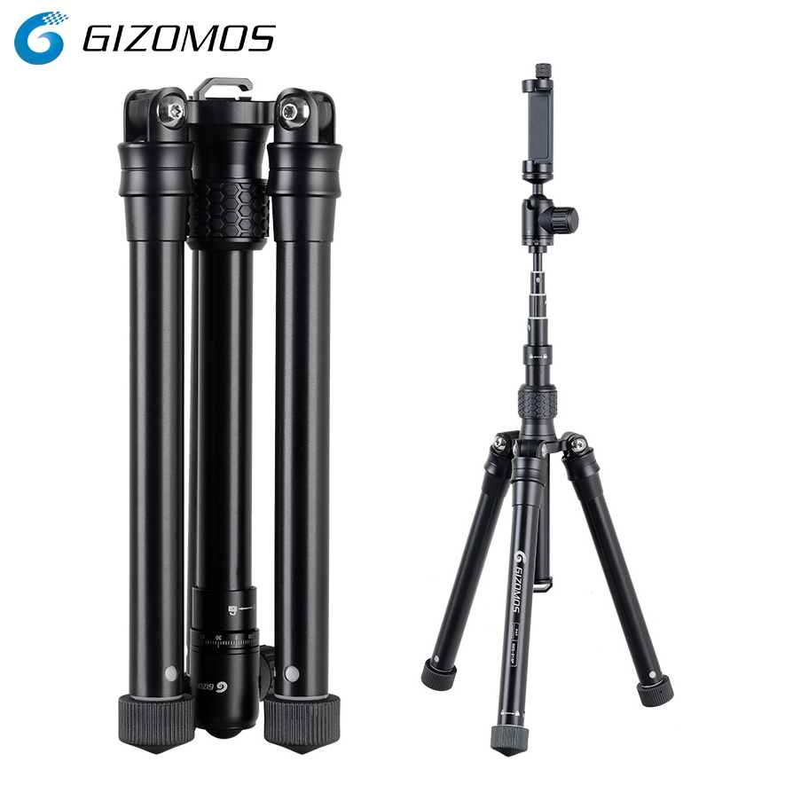 GIZOMOS GXG-215P 3in1 Mobile Phone Holder Stand Selfie Stick Monopod Tripod For DSLR Camera Smartphone With Cell Phone Clip cell phone tripod with bluetooth remote control mobile phone selfie stick mini tripod for sport camera light monopod with clip