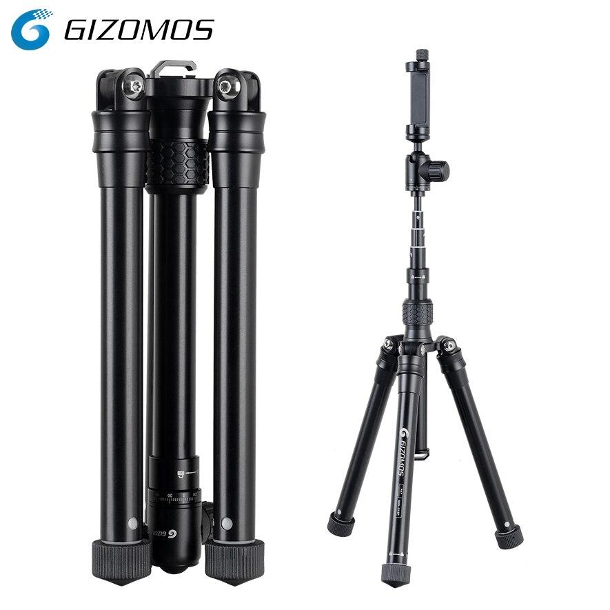 GIZOMOS GXG-215P 3in1 Mobile Téléphone Titulaire Stand Selfie Bâton Manfrotto Trépied Pour DSLR Caméra Smartphone Avec Clip De Téléphone Cellulaire