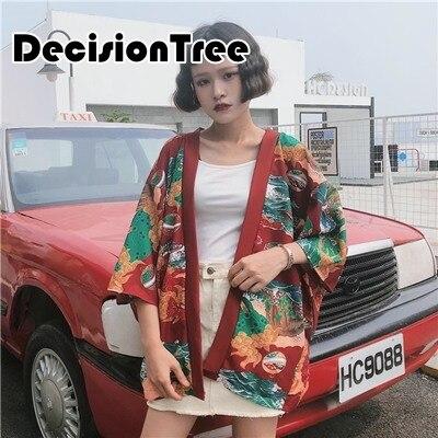2019 summer women harajuku cardigan japanese kimono printed loose shirt tops casual woman man kimonos coat