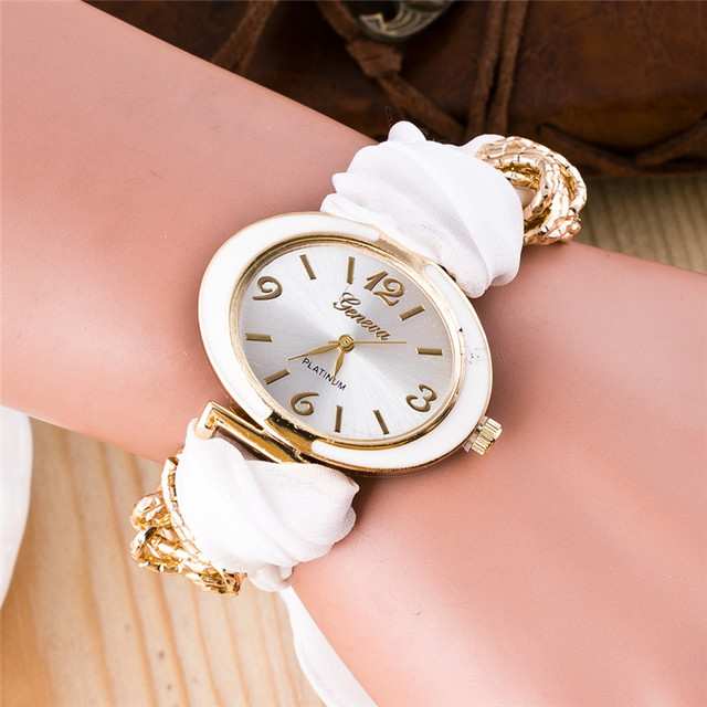 Fashion Clock Women Bracelet Watches Lady Fabric Bowknot Quartz Wrist Watch Woma