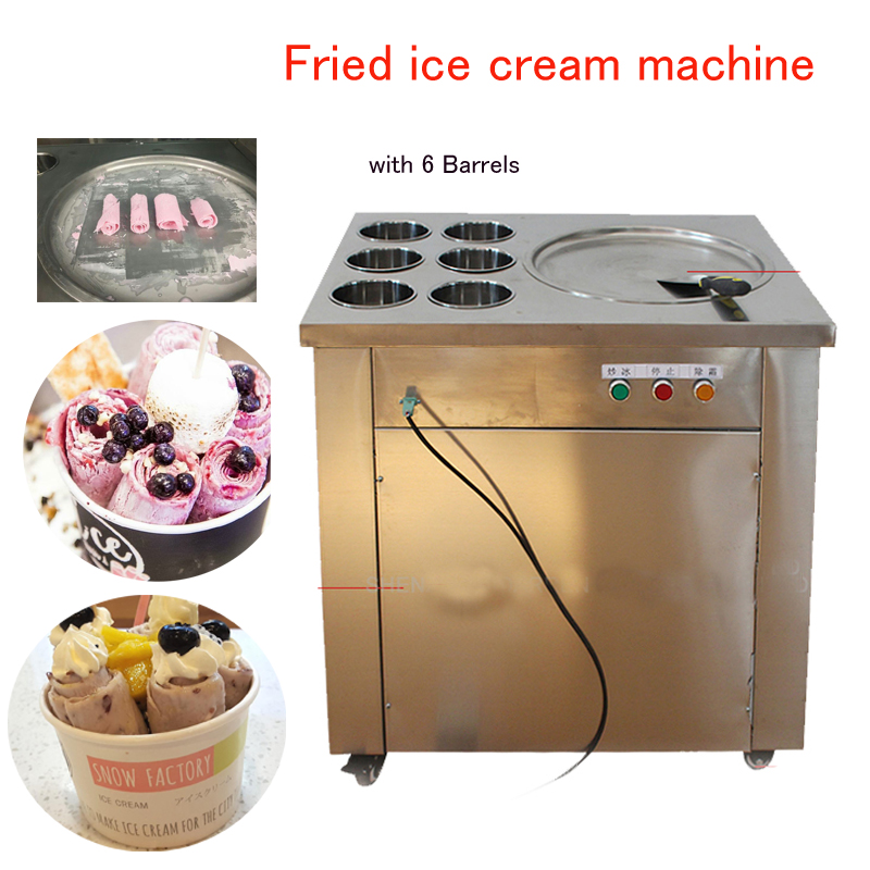 Fried Ice Cream Maker Commercial Ice Cream machine Roll Ice Cream Making pan with 6 Barrels CBJ-1*6 220v 110v ce flat pan fried ice cream roll machine fried ice machine stainless steel freezing ice cream machine with glass cover