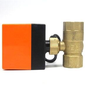 Image 3 - DN15/DN20/DN25 חשמלי ממונע פליז כדור שסתום DN20 AC 220V 2 דרך 3 חוט עם מפעיל