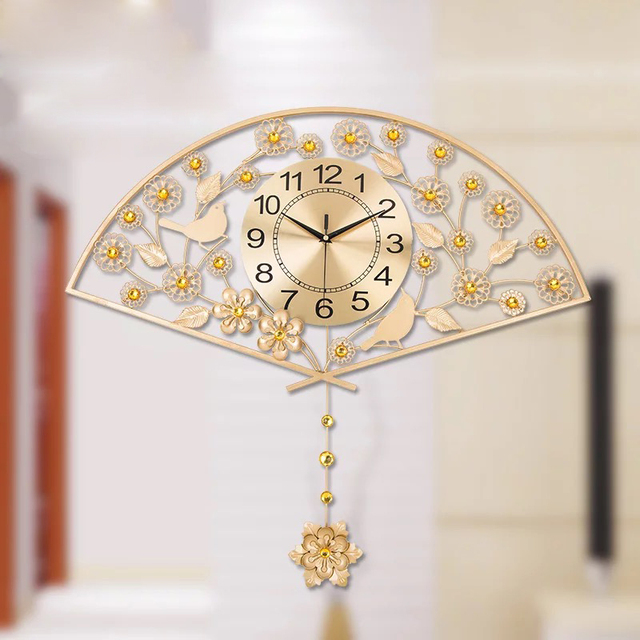 Gold Modern Brief Wall Clock Home Decor Traditional Chinese Large Decorative Clocks Ancient Fan