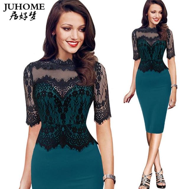 45566423dd 2018 outono Três Quartos renda bordada mulheres wrap dress túnica vestido  lápis aliexpress uk plus size