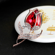 New Top Quality Diamante Crystal Rhinestone Elegant Red Tulip Flower Brooch Pin Women Wedding Party Accessories