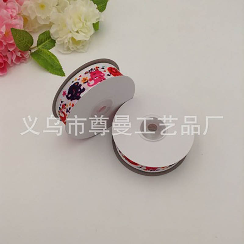 2 5CM DIY Handmade Ribbon Cute Cartoon Elephant For Holiday Decoration House Gift Box Packaging Single Sided Printing Ribbon in Ribbons from Home Garden