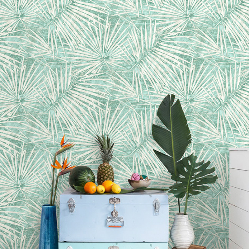 New Nordic Style Rainforest Wall Paper Modern Green Gray Blue Palm Leaf Wallpaper Southeast Asia Tv Background plant Walls Mural asia blue card 100g