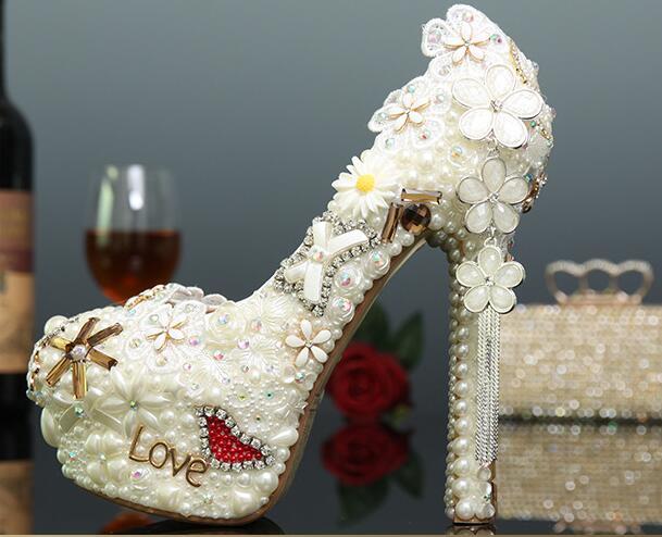 R-free shipping Korean sexy white pearls wedding shoes women platform pumps girls cowhide genuine leather rhinestone bride heels
