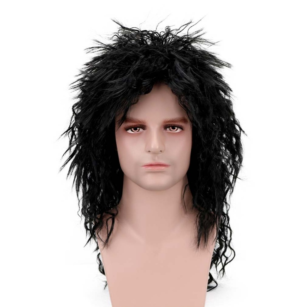 Free Beauty 20'' Long Curly Black Synthetic Punk Rock Crazy Spiky Fancy Funny Fluffy Vampire Hippie Wig For Men Party Halloween
