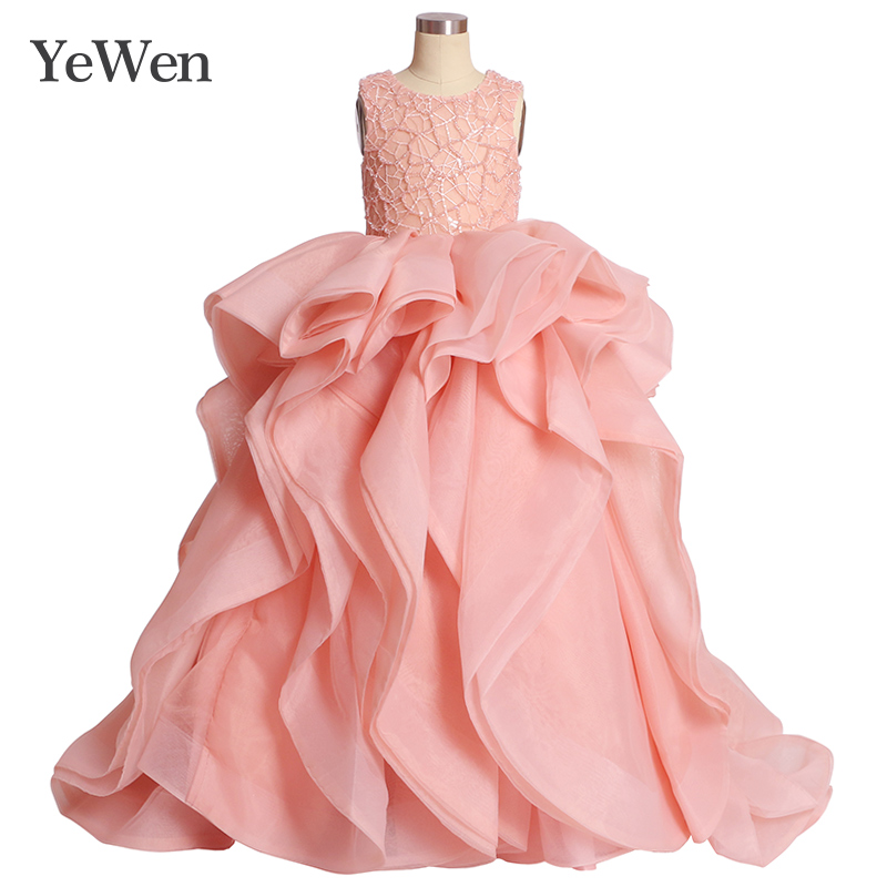 2019 Organza Lace White   Flower     Girl     Dresses   for Weddings and Party First Communion   Dresses   For   Girls   pink aplique   flowers   gown