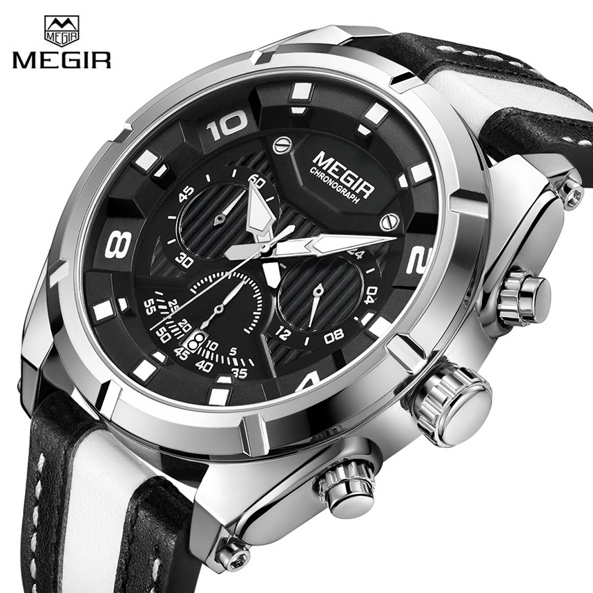 MEGIR Sport Men Watches Chronograph Creative Big Dial Luxury Men's Quartz Wrist Watch Brand Leather Army Military Time Clock gift hot crazy selling army leather belt table trend of retro fashion blue big dial quartz watch clock men military sport watch