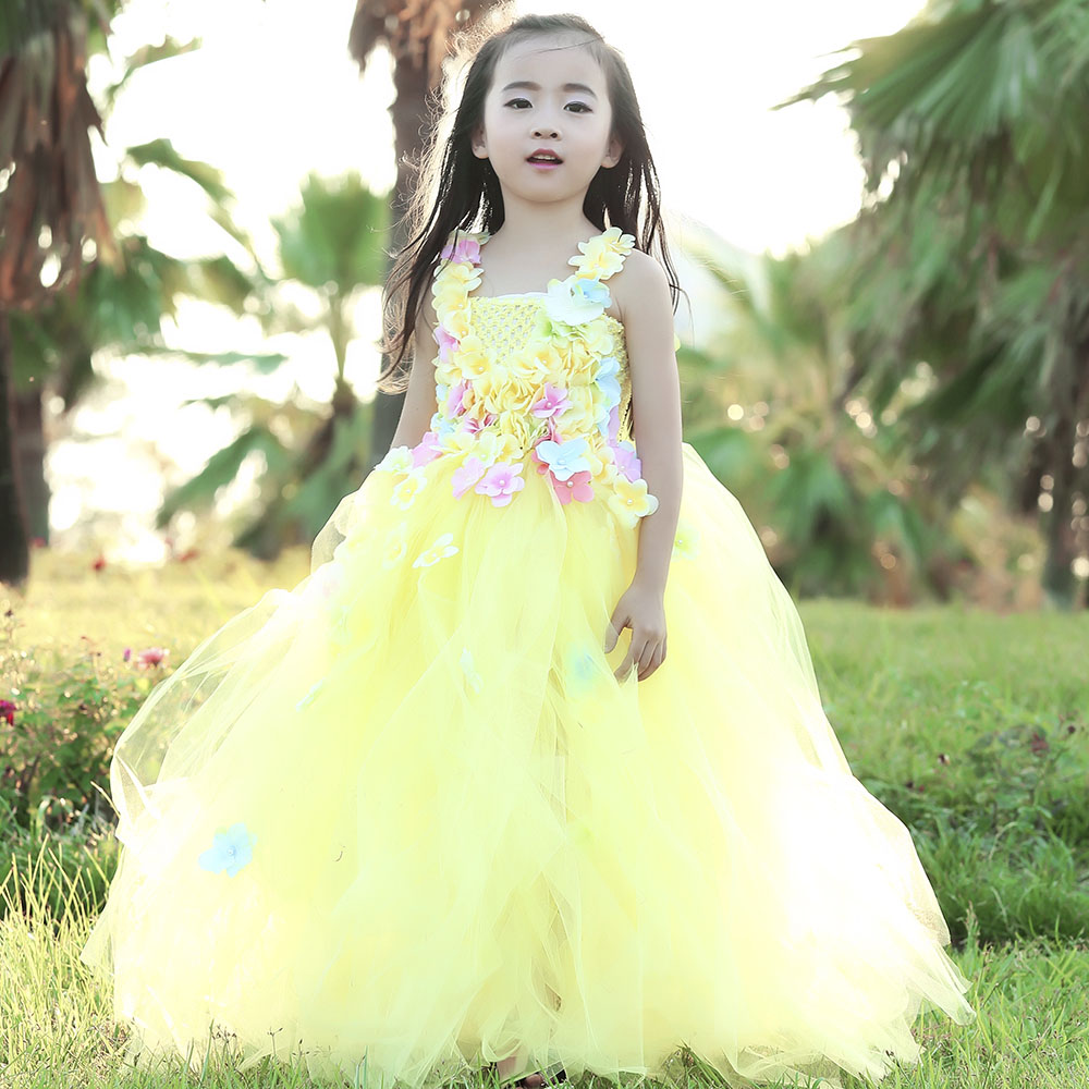 Flower Fairy Dress Beauty and the Beast Girl Costumes Kids Fluffy Ball Gown Dress Baby Birthday Carnival Prom Tutu Party Dress new baby girl clothing sets lace tutu romper dress jumpersuit headband 2pcs set bebes infant 1st birthday superman costumes 0 2t
