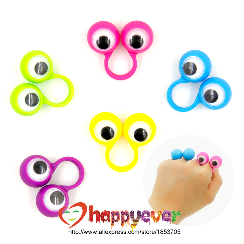 24PCS Eye Finger Puppets Plastic Rings with Wiggle Eyes Party Favors for Kids Assorted Colors Gift Toys Pinata Fillers Birthday ...