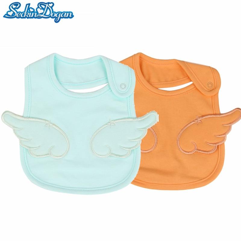 SeckinDogan Baby Bibs 100% Cotton 5 Colors Waterproof Bib Cute Embroidery Angel Pattern Bandana Baberos Girls Boys Stuff