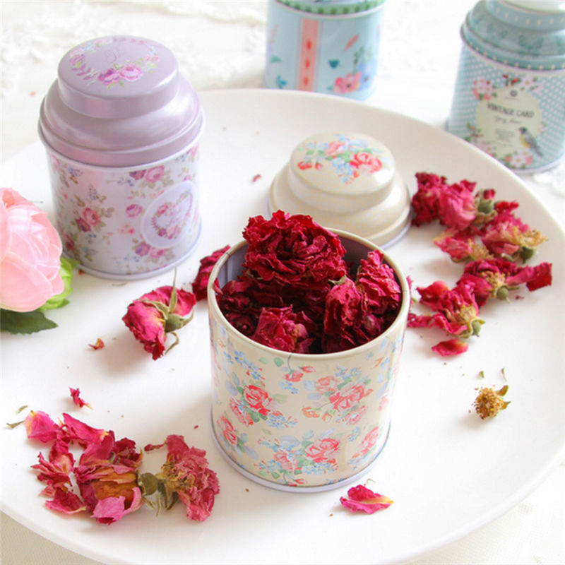 Storage-Case Tea-Box Candy Container Iron Flower-Series Gift Round Metal Creative Cute