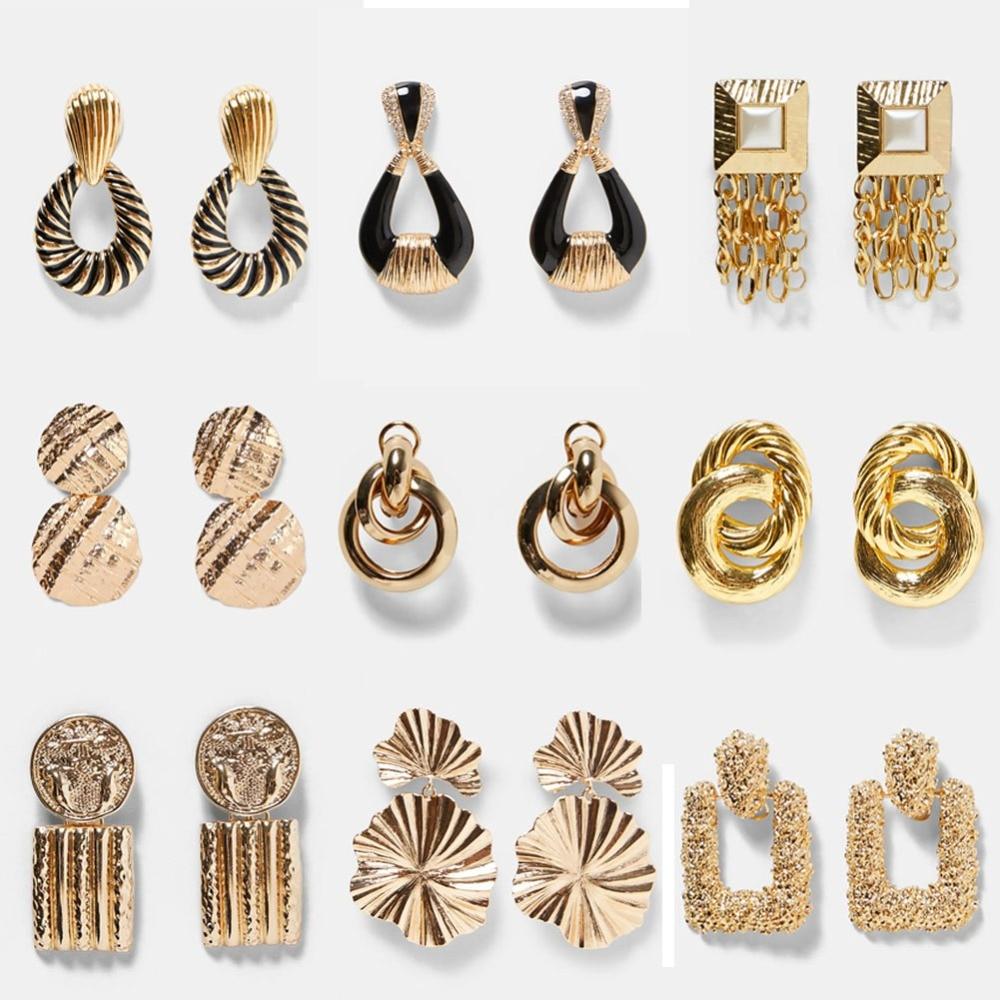 Best lady ZA Metal Multicolored Drop Dangle Earrings For Women Geometric Wedding Party Vintage Christmas Gifts Bohemian Bijoux