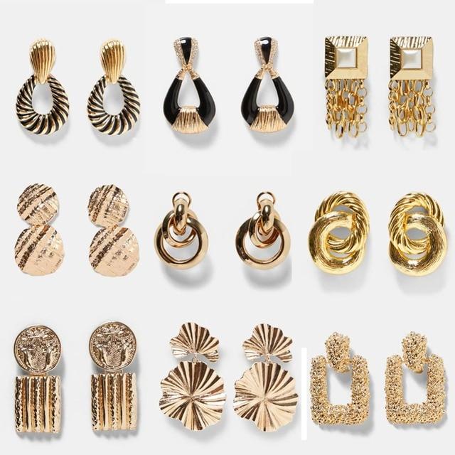 eb4c29808 Best lady ZA Metal Multicolored Drop Dangle Earrings For Women Geometric  Wedding Party Vintage Christmas Gifts Bohemian Bijoux