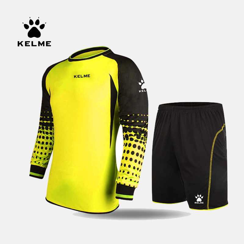 KELME Goalkeeper Soccer Jerseys Sets Children Long Sleeve Doorkeepers Survetement Kids Football Sponge Protector K15Z254