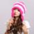 Chapéus De Pele De Coelho Rex das mulheres de Inverno Cap Ouvido Flexível Multicolor venda Quente Cap Gorro de pele real com listra pompons H-21103