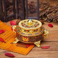 2019 Tibetan Style Lotus Incense Burner Zinc Alloy Metal Craft Alloy Bronze Censer Burner Home Decor Noble Aromatherapy Furnace