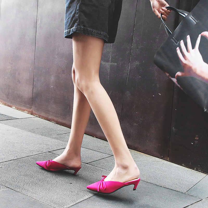 elegante punta 2019 per Slingback superficiale scarpe speciale offerta pompe a Prom rossa donna le Med scarpe rosa matrimonio nuove tacco basso Asumer donne nero PqTxdP