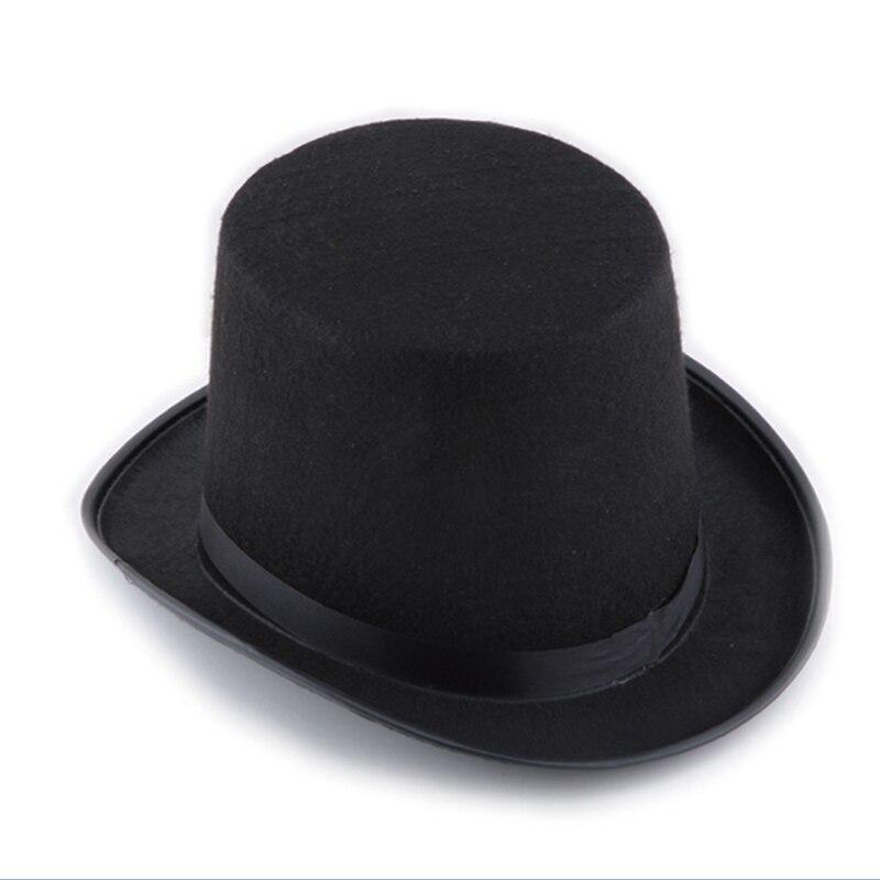 13CM/16CM Height Punk Black Hatter Top Hat Halloween Props Felt Hats Millinery/ Magician Magic Trick Cap SSA-19ING