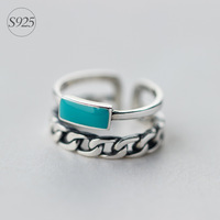 RETRO Real 925 Sterling Silver Adjustable Size Turquoise Stone Double Rows Multi Rows Ring GTLJ825
