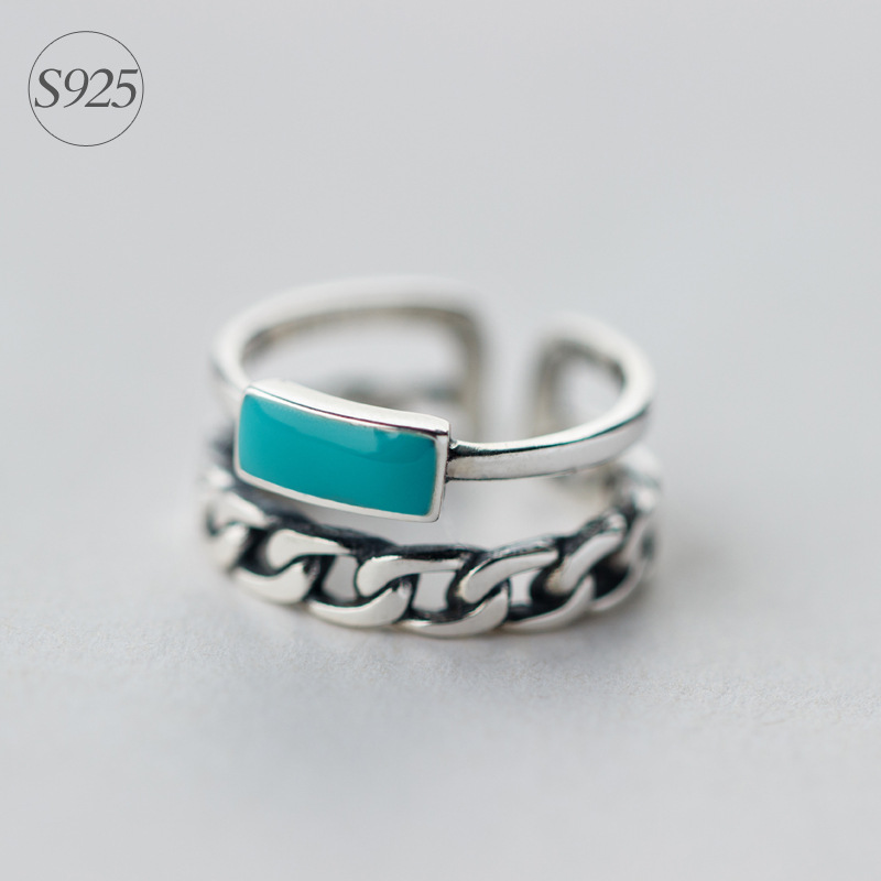 RETRO Real. 925 Sterling Silver Adjustable size Turquoise St