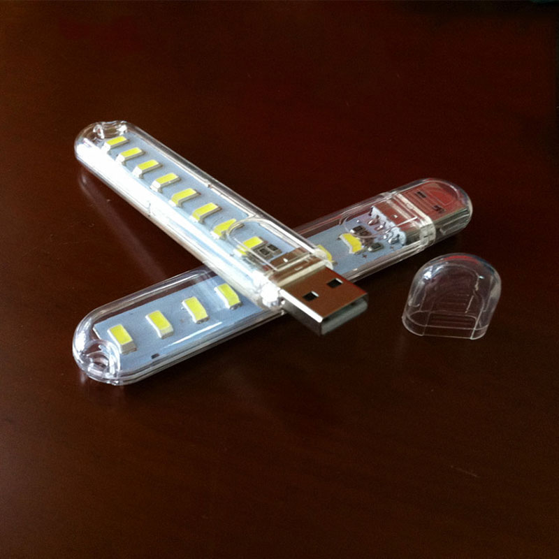 Mini Portable USB 8LED Light Lamp Bulbs Tubes Flashlight Nightlight Reading Camping Effi ...
