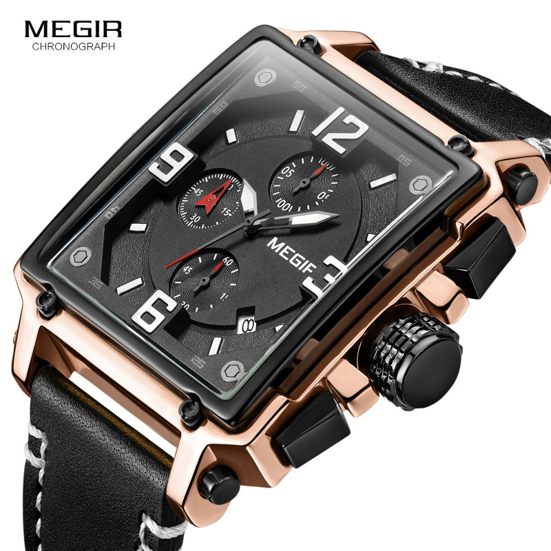 Megir Leather Strap Army Chronograph Quartz Wrist Watches Men Square Sports Stop Watch Man Clock Relogios Masculino 2061 Rose