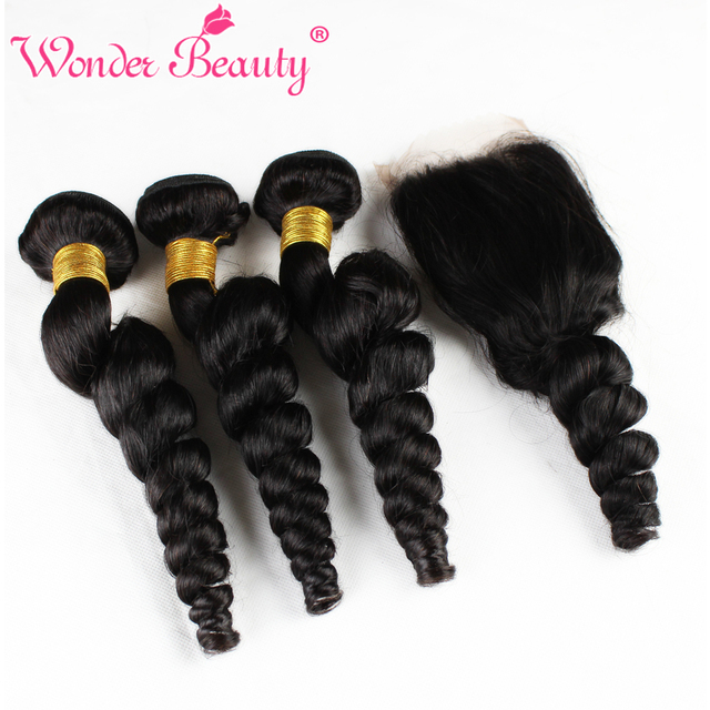 Unprocessed Virgin Indian Loose Wave with Closure Indian Virgin Hair with Lace Closure Wonder Beauty Indian Loose Wave Hair