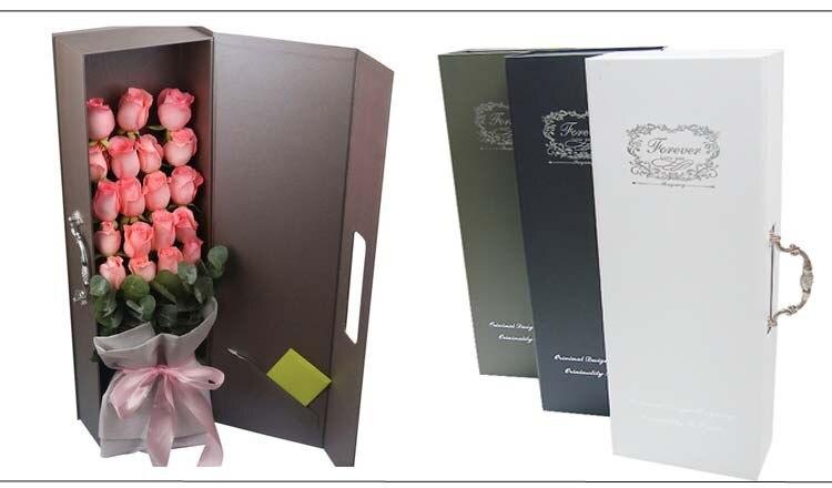 Très bonne qualité fleuriste emballage flowe cadeau emballage poignée boîte,, boîtes en carton faveurs de mariage et cadeaux 6 couleur choisir