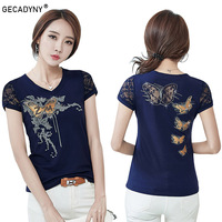2017 Summer T Shirt Women Lace Short Sleeve T Shirts Female Flower Print Hollow Hot Drilling