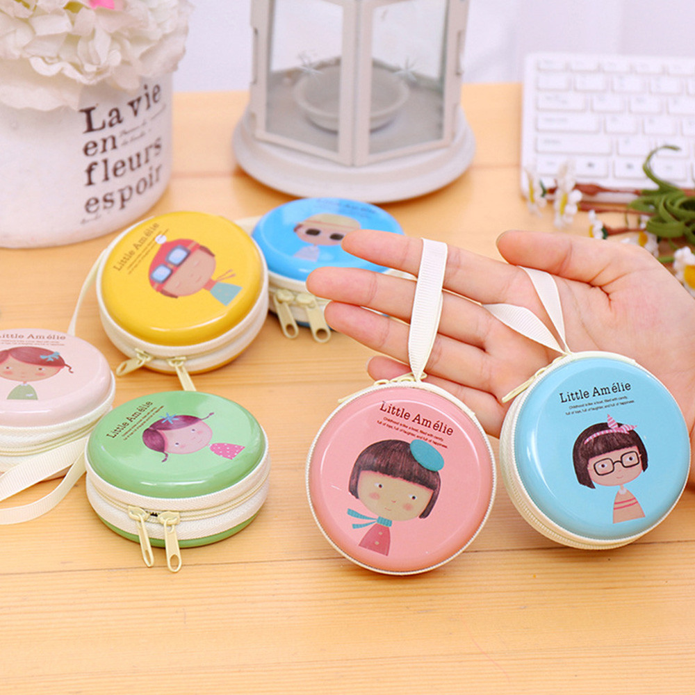 Headphones receive Super cute girl elements small change high quality cartoon cleaning organizers container