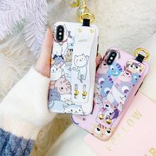 Newest Funny Cute Cartoon pet cat wristband phone case For iphone Xs MAX XR 6 6s