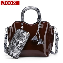 JOOZ Luxury Patent Leather set women Messenger bag Lady hand bags 2019 New with floral Composite shoulder crossbody bag