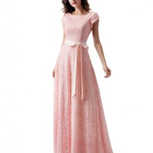 Blushing Pink Lace A-line Long Modest Mother Bride