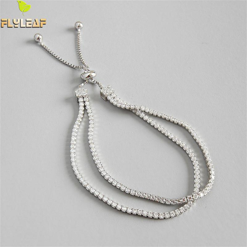 Flyleaf 925 Sterling Silver Bracelets For Women Cubic Zirconia Double Layer Ball Simple Fashion Fine Jewelry Bracelets & Bangles