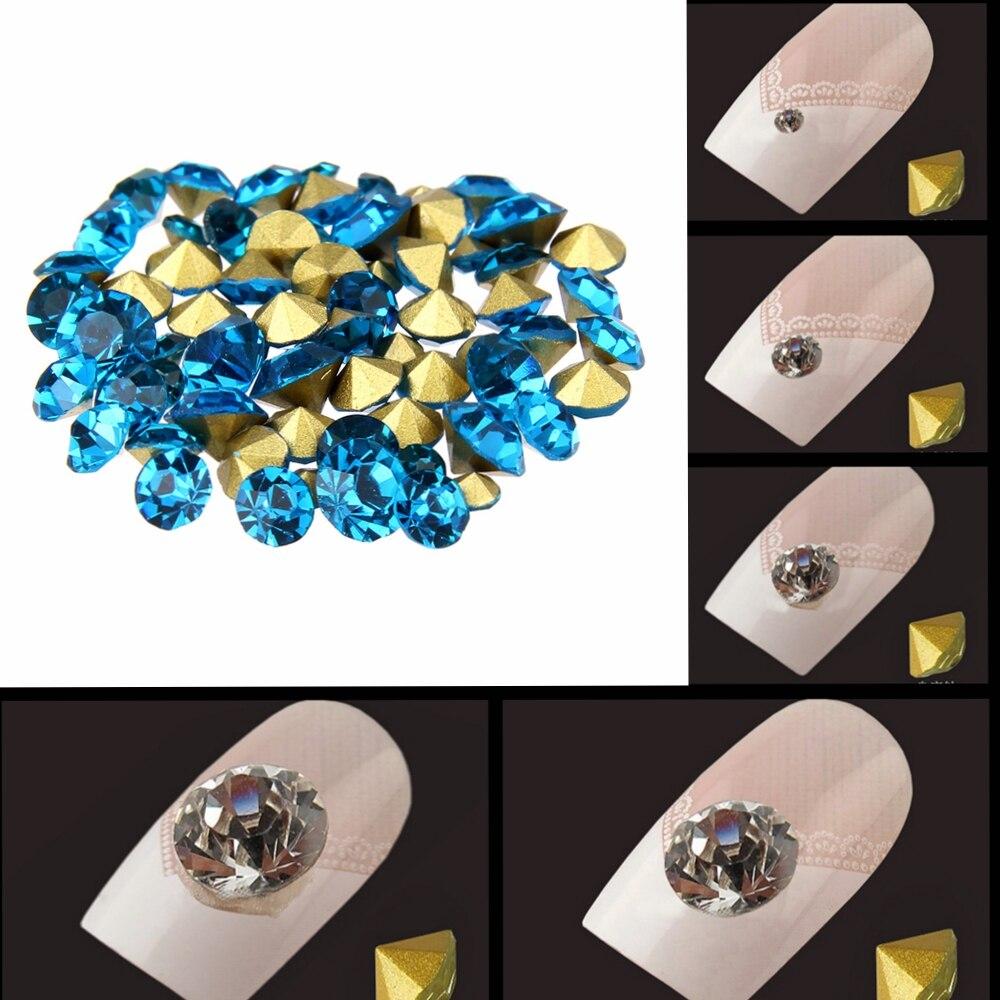 Nail Sticker Rhinestones Dark Aquamarine Color Mini Pointback Crystal Stones Loose Strass Bead DIY Nail Art Decoration