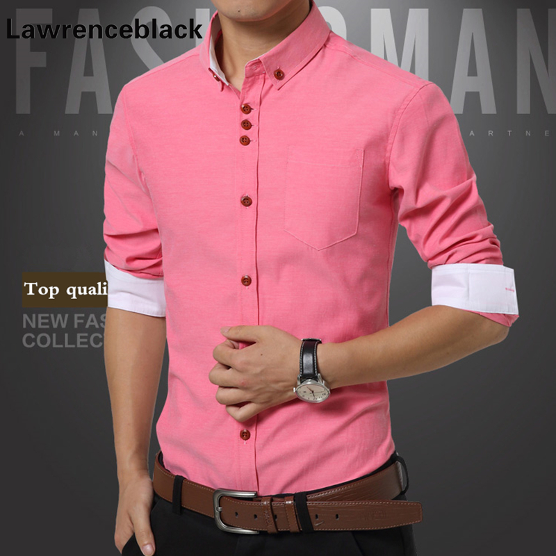 Mens Dress Shirts Solid Classic Fit Shirts Social Chemise Homme Pink Casual Shirt Mens Plus Size Formal Shirt Brand Menswear 538
