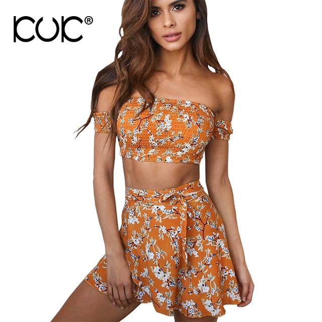 b54748f4f Kuk Crop Top And Skirt Set Lady Summer Off Shoulder Top Mini Floral Skirt  Hippie Boho Beach 2 Piece Set Women A258