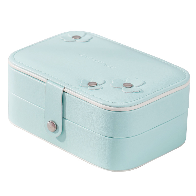 Brand Pink Portable PU Jewelry Cases European Ladies Drawing Box Earings Necklace Jewel Case Double Layers Storage Case Box New jewel box