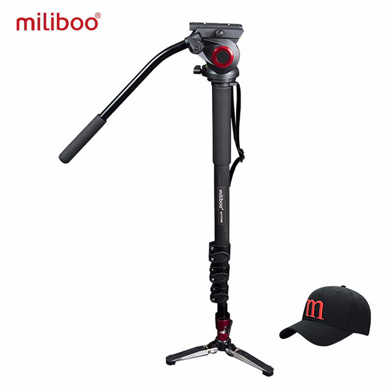 miliboo Professional Carbon fiber Monopod Flat Heat Mini Tripod Protable Gorillapod 1 4 3 8 Screw